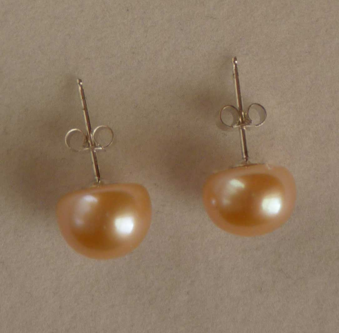 Champagne Pearl Stud Earrings